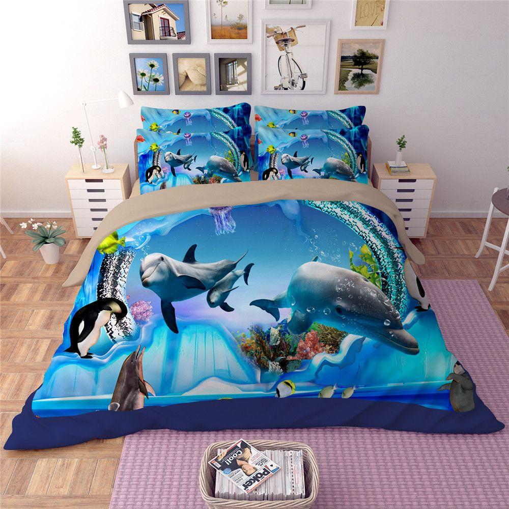 Yeekin Underwater World Shark Ocean Fish Kids Bedding Sets Twin Size Fitted Bed Sheet Print Ocean Shark Merm Ocean Duvet Cover Fitted Bed Sheets Duvet Covers