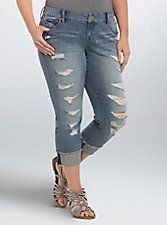 17444142667 Torrid Girlfriend Jeans - Light Wash with Ripped Destruction