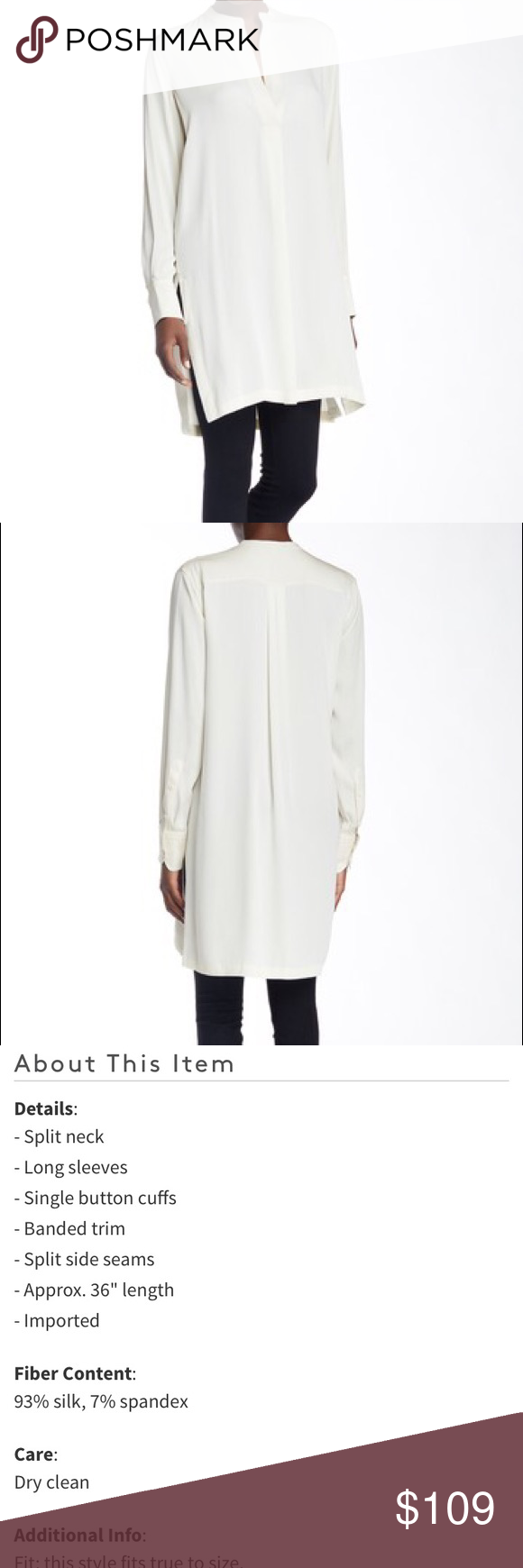 Helmut Lang Silk Blend Split Neck Tunic Blouse Helmut Lang Silk Blend Split Neck Tunic Blouse. Size: Small. Color: Ivory. Originally $370. Minor defects shown in the pics (small stains and some pulled threads). The defects can easily be covered up, especially with your hair down. Helmut Lang Tops Blouses