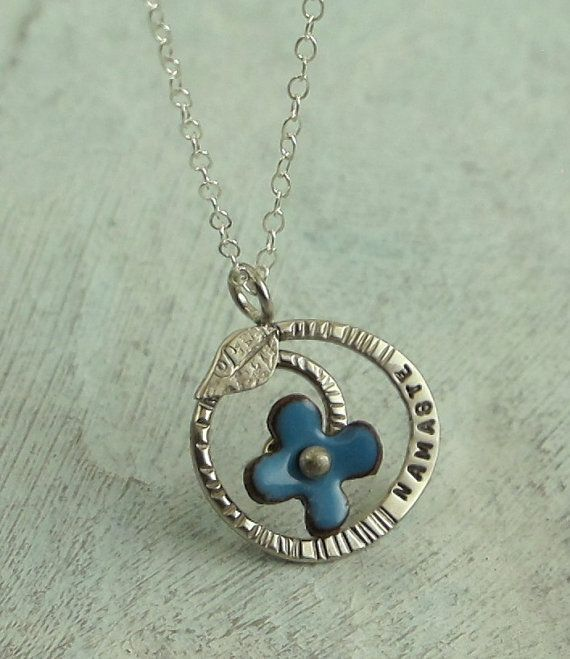 Namaste regrowth necklace with blue flower in sterling silver namaste regrowth necklace with blue flower in by kathrynriechert 5000 aloadofball Choice Image