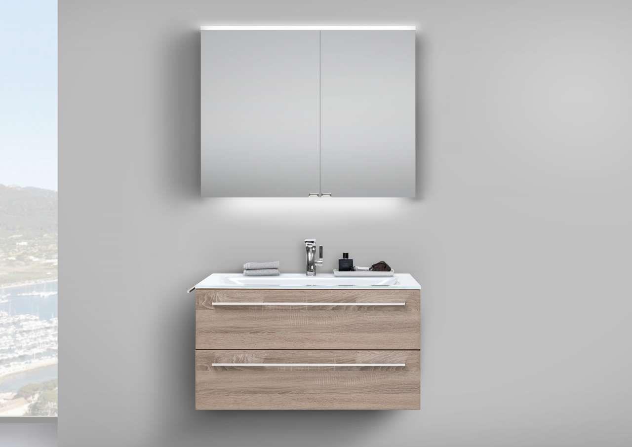 badmoebel badmoebel set ideen, badmöbel set 90 cm glaswaschtisch mit unterschrank, spiegelschrank, Design ideen
