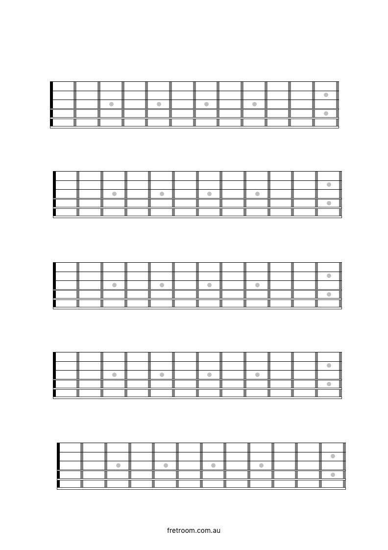 photograph regarding Guitar Fretboard Diagram Printable identified as 5 blank neck diagrams, very good for mapping out 5 notice scales