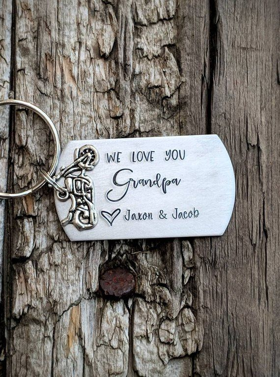 hand stamped personalized grandfather keychain personalized