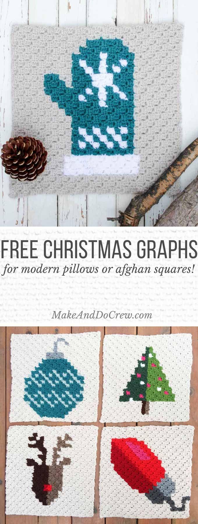 Mitten C2C Crochet Afghan Graph - Free Pattern | Tejido, Navidad y ...