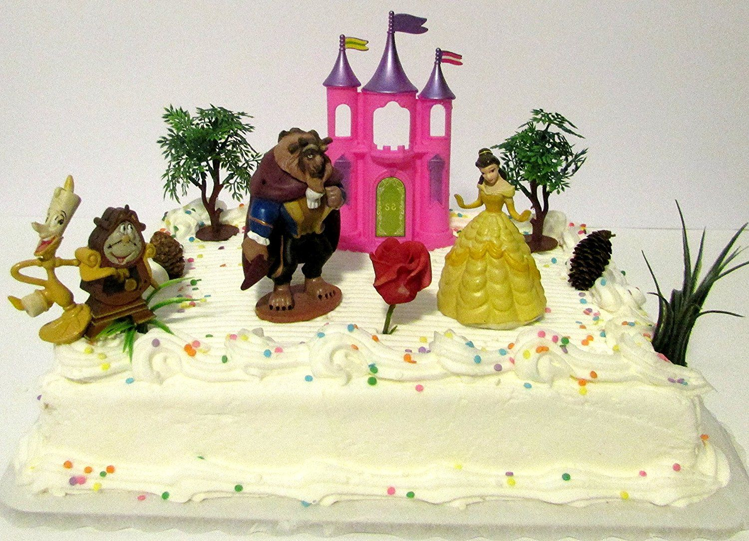 Beauty and the Beast Birthday Cake Topper Set Featuring Belle The