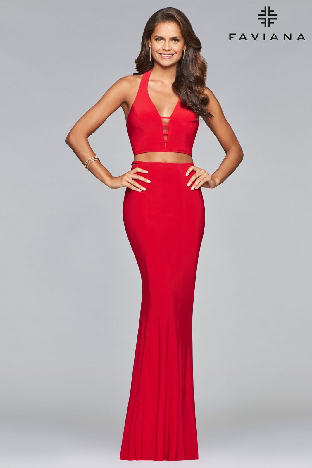 bde56b9e329  Faviana style 10056 is young and sleek. This modern two-piece dress  features a deep v-neck with illusion inserts and a cut out back. This jersey   dress is ...