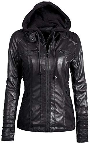 Buy Forthery Womens Classic Pea Coat Jacket Zipper Leather Hoodie Outwear (Tag L= US M, Black) online - Prettyclothingstyle 1