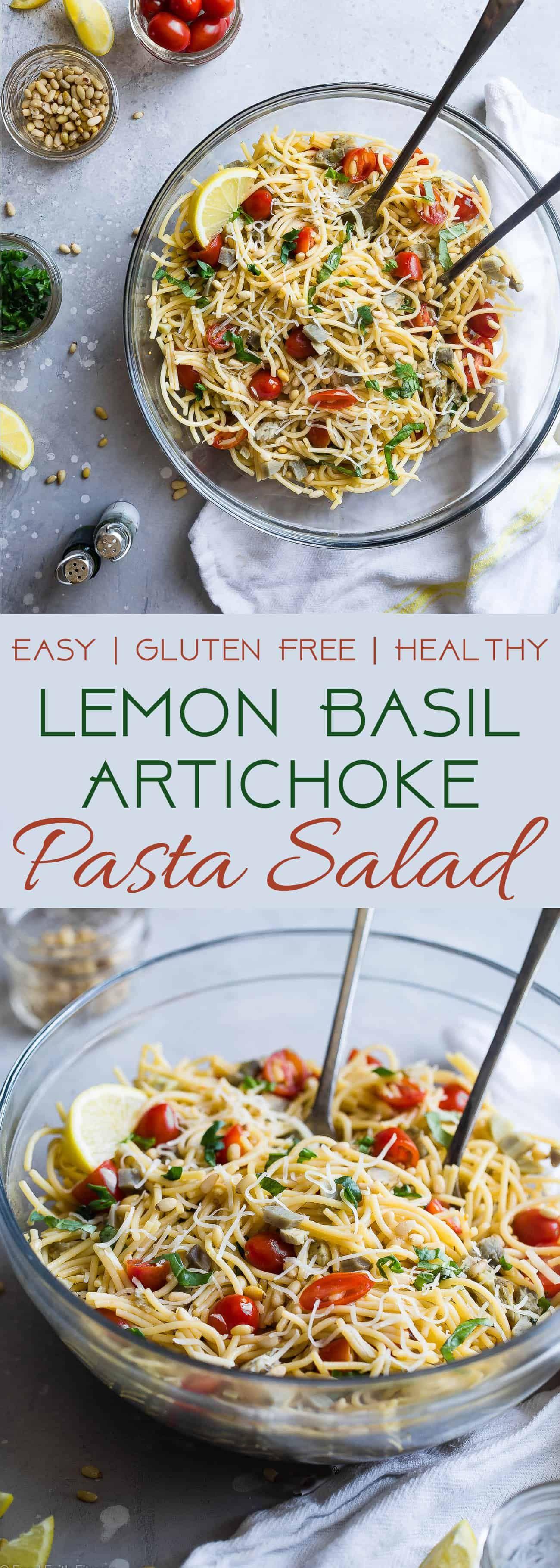 Gluten Free Lemon Artichoke Spaghetti Pasta Salad-A simple, healthy, vegan friendly pasta salad with creamy, roasted artichokes, bright fresh basil, garlic and lemon vinaigrette! Big flavors, so easy and great for Spring or Potlucks!    