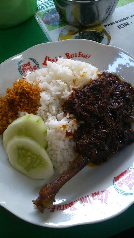 Nasi Bebek Madura Rice With Hot And Spicy Duck From East Java Indonesia Resep Masakan Masakan Makanan