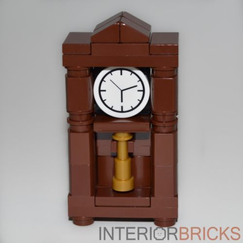 LEGO-Furniture-Grandfather-Clock-Brown-Parts-Instructions-custom-set