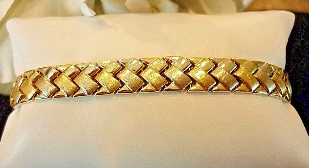 "14K YG/WG Designer Aurafin Chevron Dual Color Bracelet, 7 1/2"" - 11 grams  #Aurafin #Chevron"