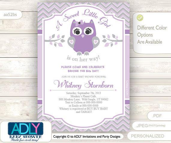 Purple Grey Owl Baby Shower Invitation Card By Adlyowlpartyprints