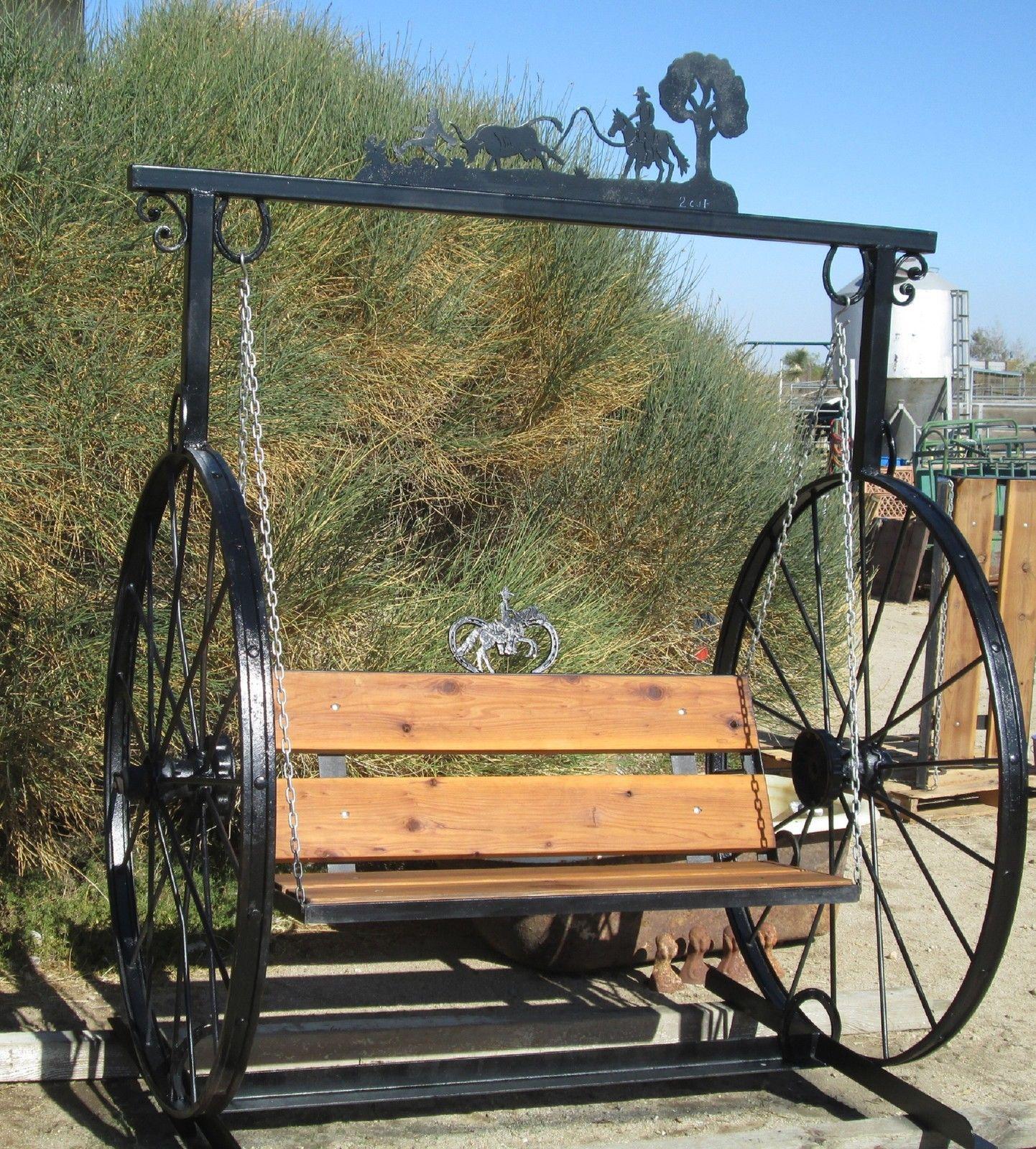 Garden Swing Hand Made W 100 Yr Old Hay Rake Wheels Steel