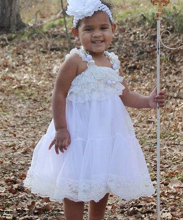 Another great find on #zulily! White Chiffon Ruffle Dress - Girls #zulilyfinds