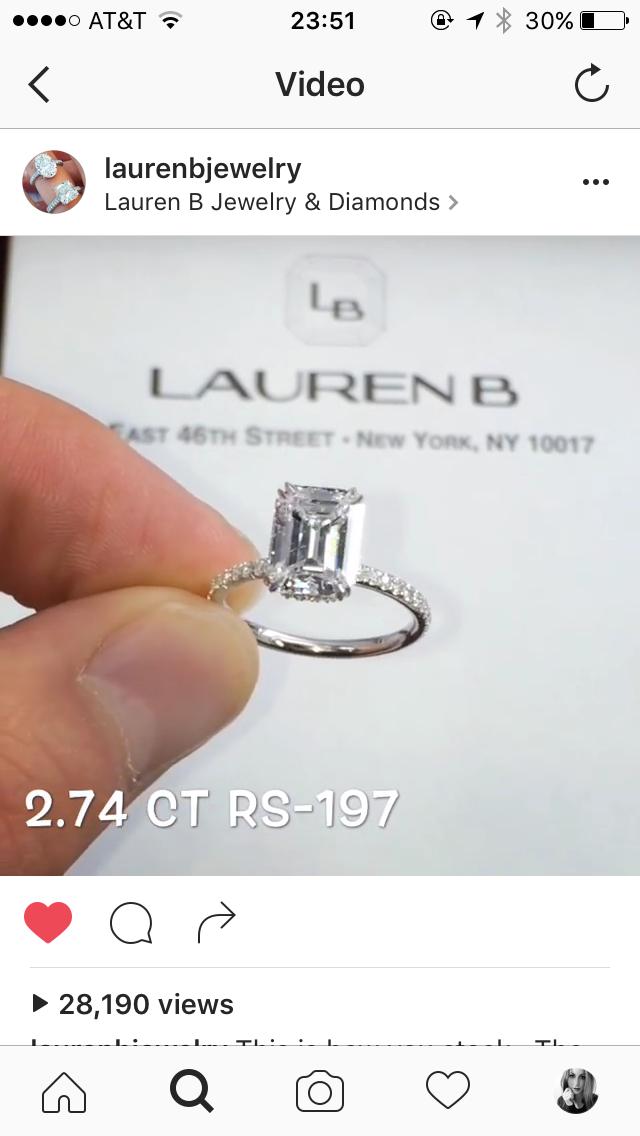 Emerald cut diamond engagement ring from Lauren B jewelry!