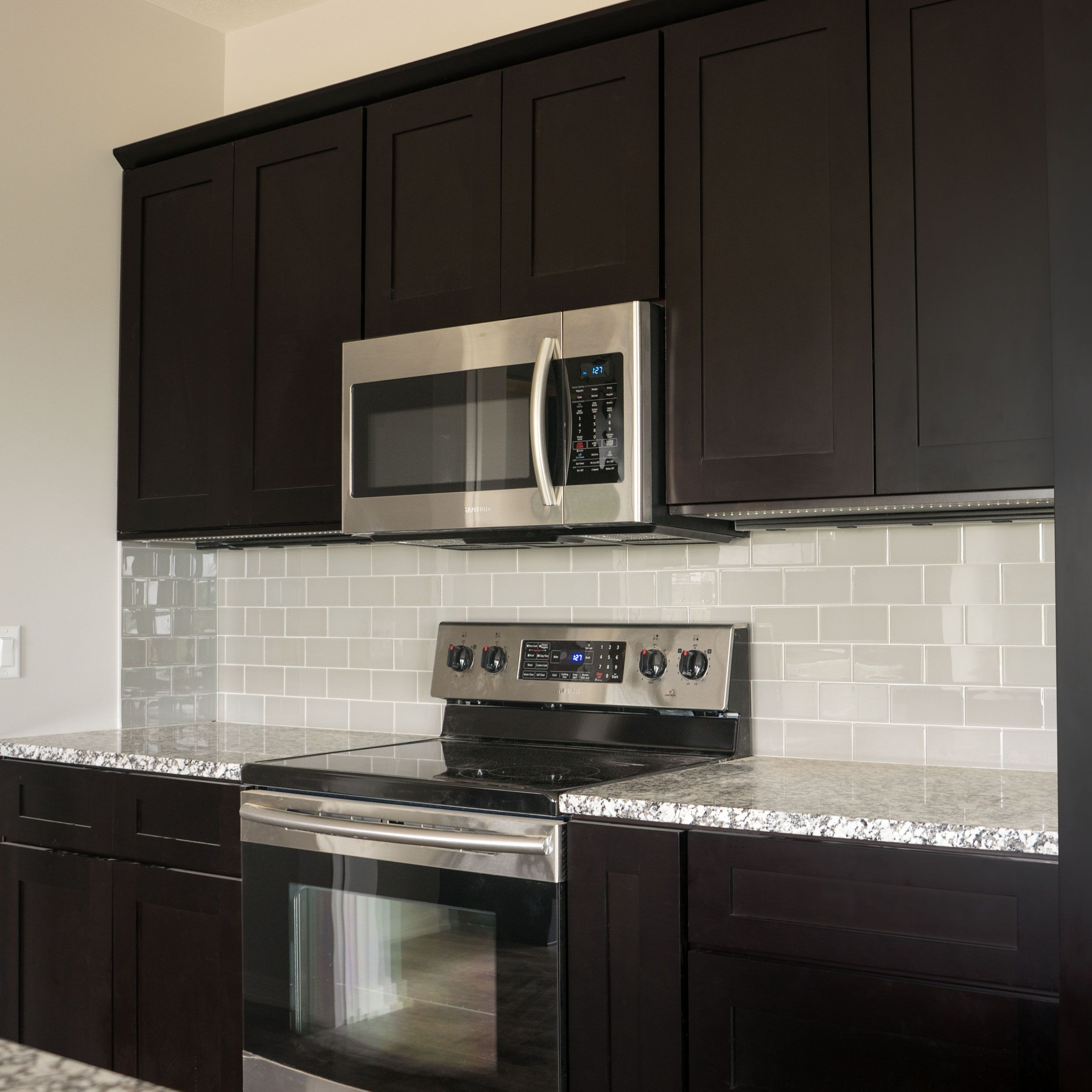 White marble subway backsplash tile countertop espresso cabinet from -  Joe If We Do Dark Cabinets I Don T Think The Gray Engineered Wood Will Look Good Island Kitchen Cabinets Bundle In Shaker Espresso With Soft Close