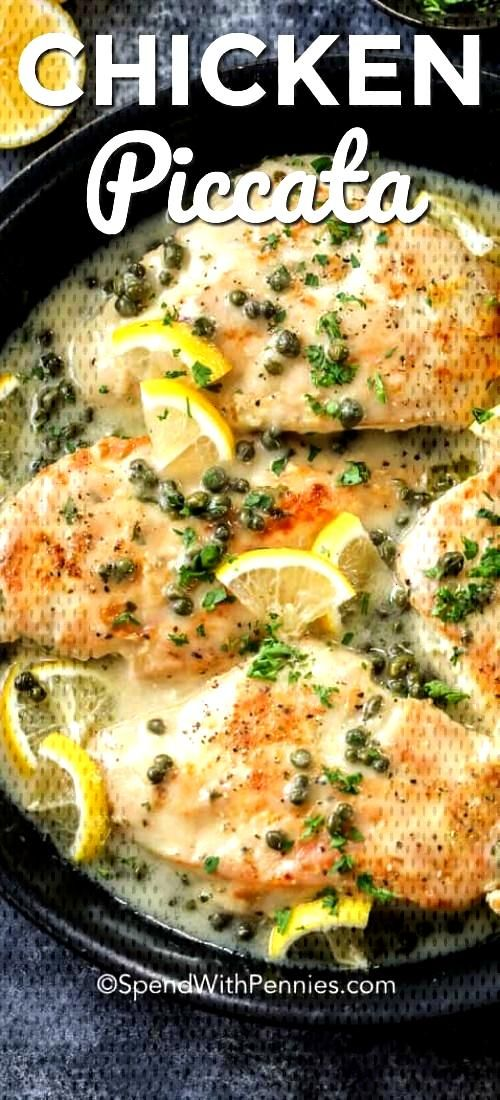 We just love this Chicken Piccata recipe! Tender chicken breasts are dredged in a lemon pepper flou