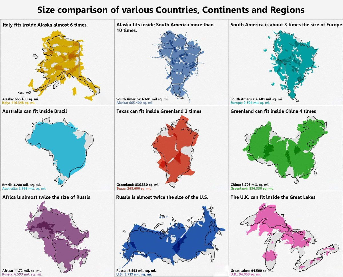 Africa Map Comparison.Size Comparison Of Various Countries Continents And Regions