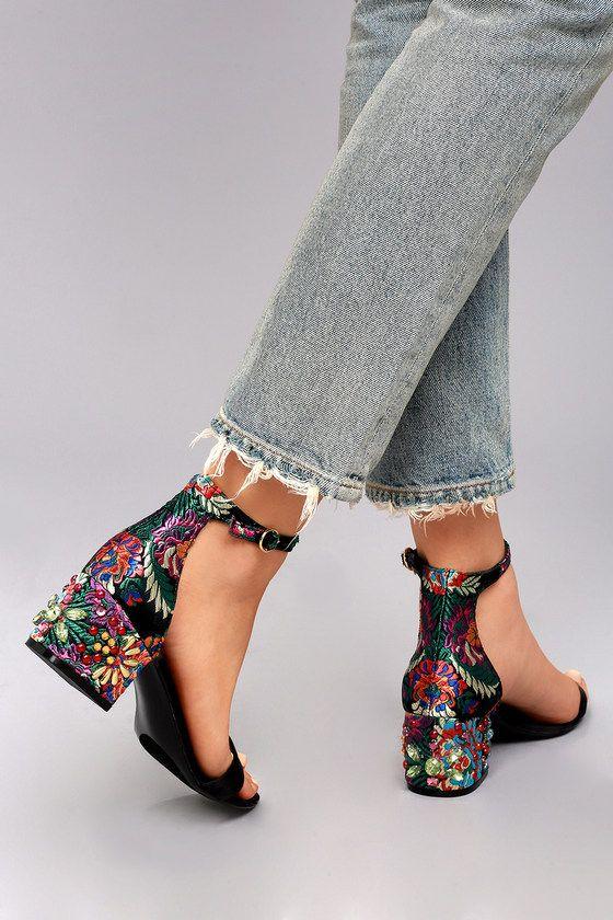 0b3eb5c6499 Steve Madden Inca Bright Multi Brocade Ankle Strap Heels 5