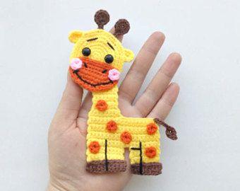 Pattern giraffe applique crochet pattern pdf jungle animal pattern