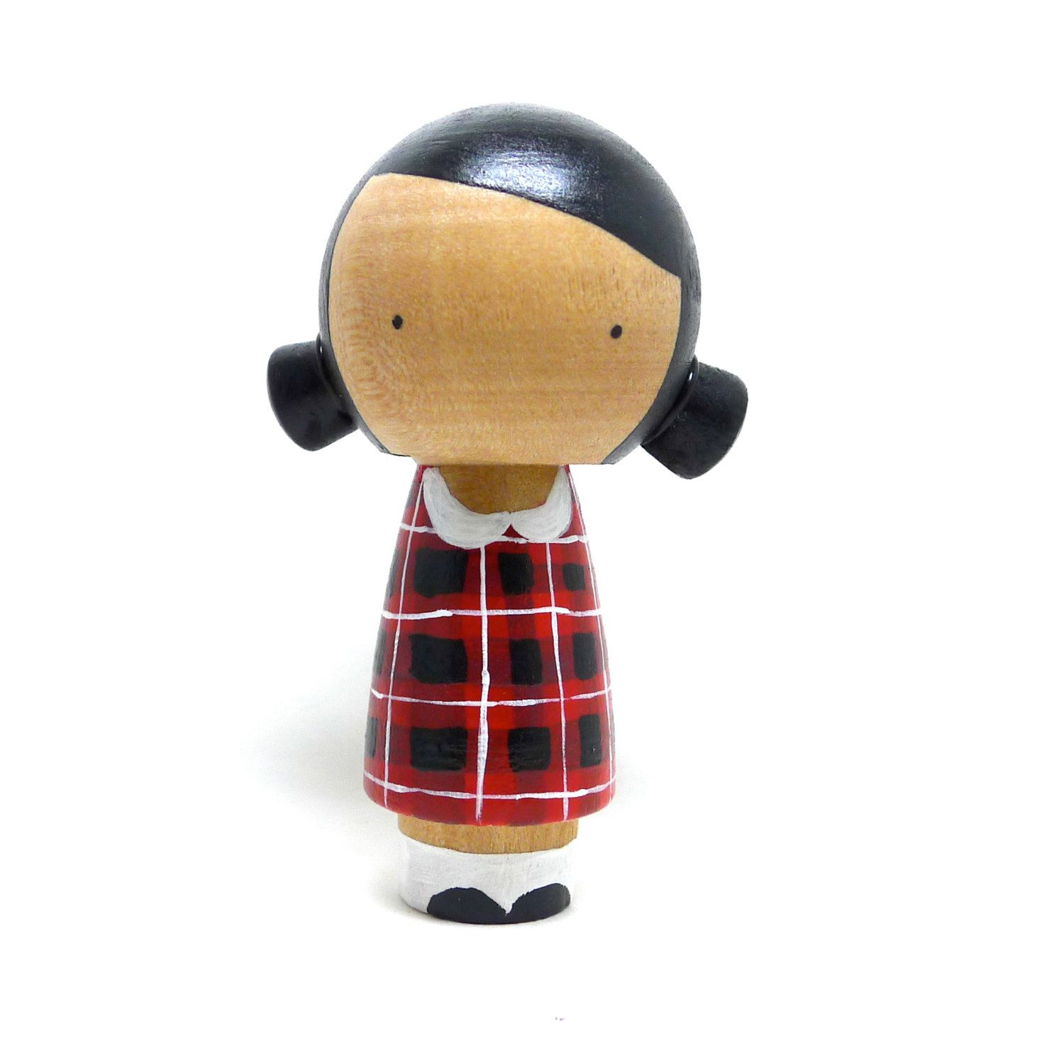 Wooden Peg Doll Kokeshi Girl with Plaid Dress