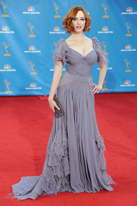 + Christina Hendricks and lavender dress +