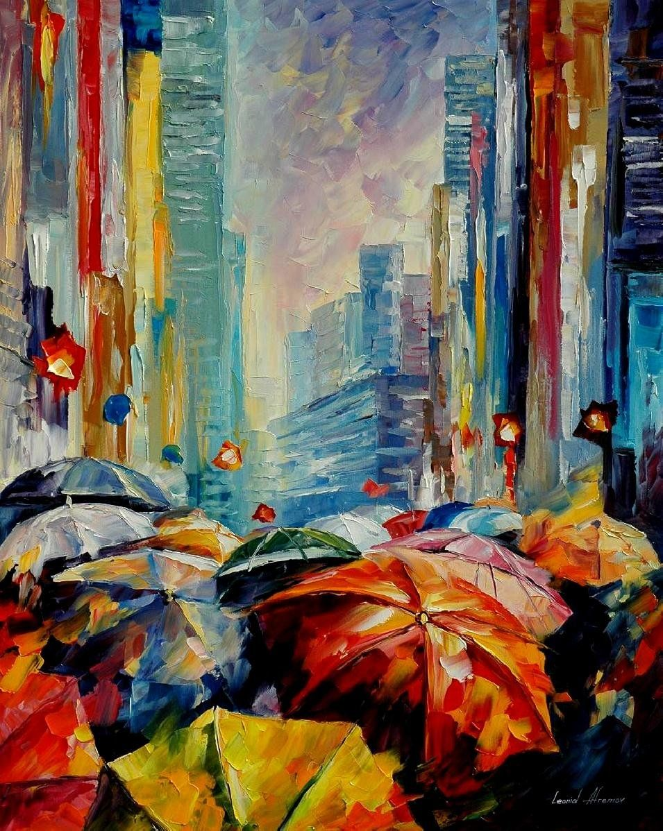 Leonid Afremov Umbrellas Palette Knife