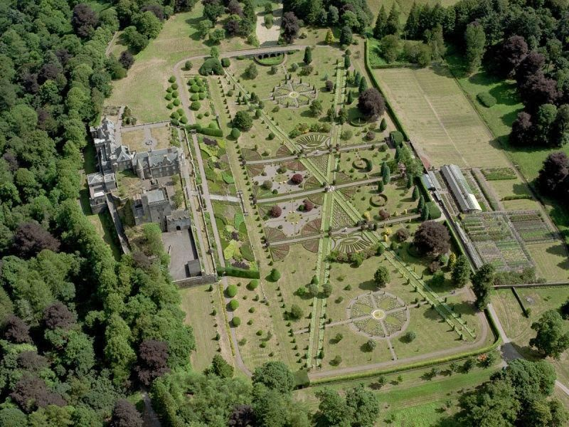 Aerial view of garden at Drummond Castle, Perthshire ...