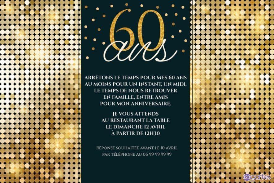 Invitations anniversaire Adultes (Gratuits) | 123cartes | Invitation anniversaire 60 ans, Carte ...