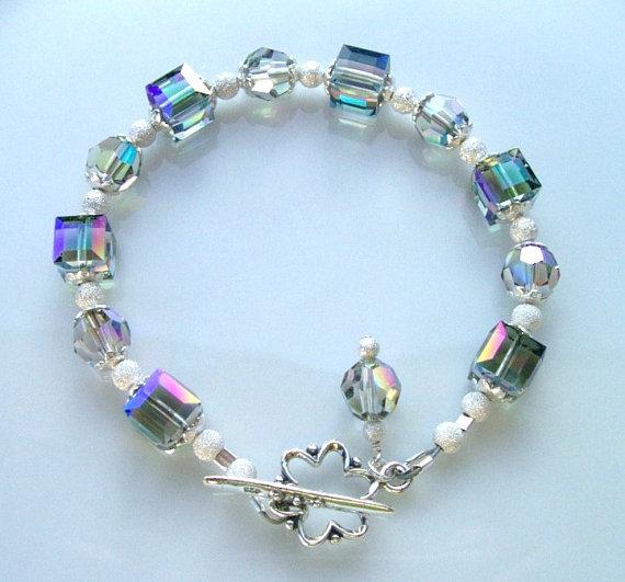 3ef9dc8bf46e Swarovski Crystal and Sterling Silver Beaded Bracelet handmade srajd ...