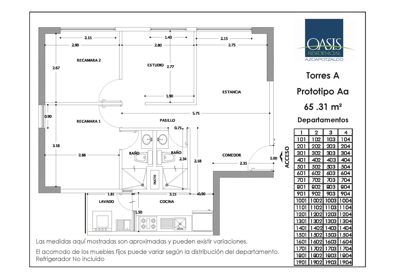 Planos de departamentos de 65m2 en oasisazcapotzalco for Departamentos en planos