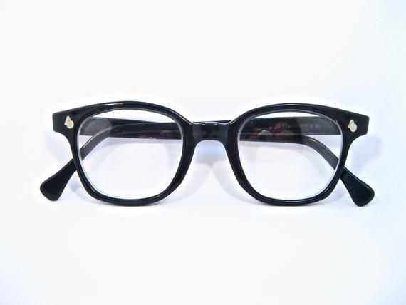 4e1caaed3b8 AO Flexi-Fit black horn rimmed eyeglass frames. Rare American Optical 48 mm large  mens unisex size. Non-prescription clear lenses.
