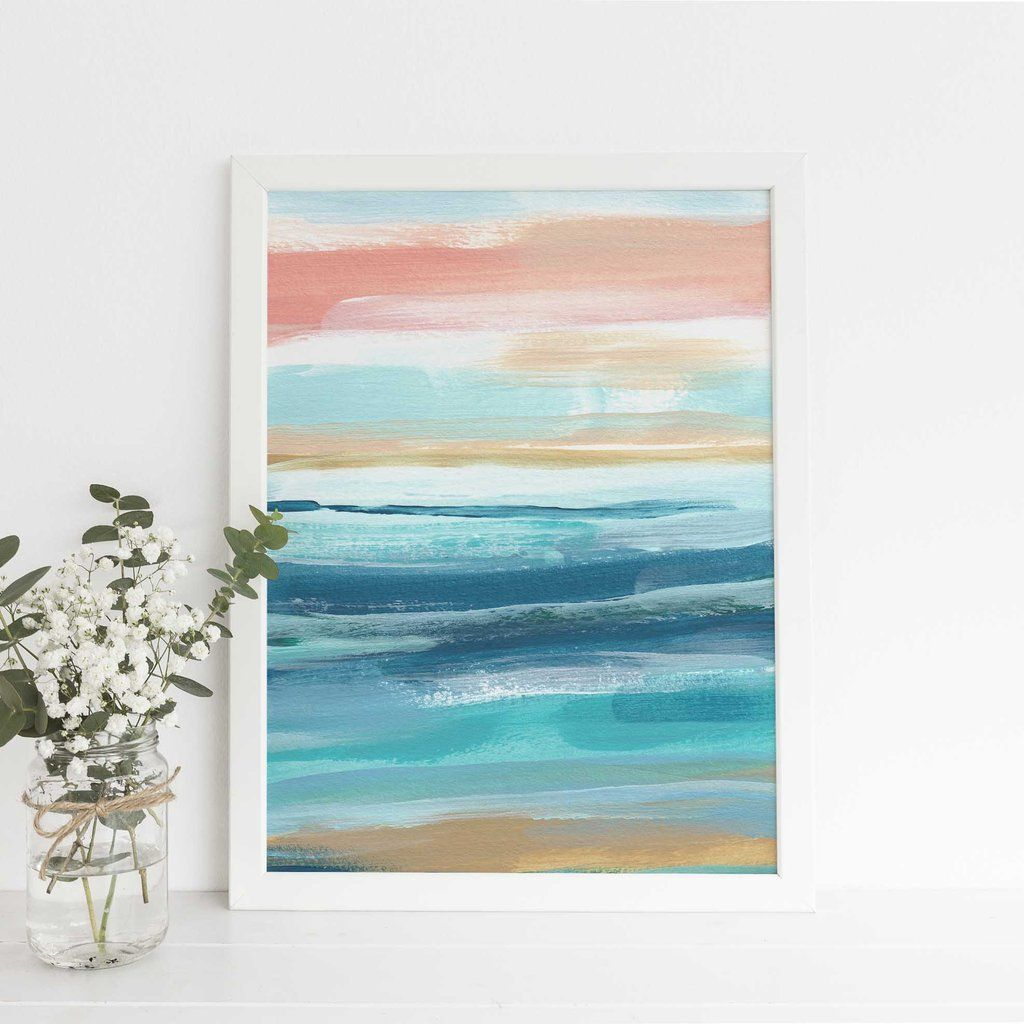 Beach Seascape Ocean Swell Abstract Painting Wall Art Print Or