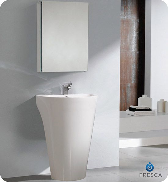 Fresca Parma Single 24 Inch White Modern Pedestal Bathroom Vanity Set