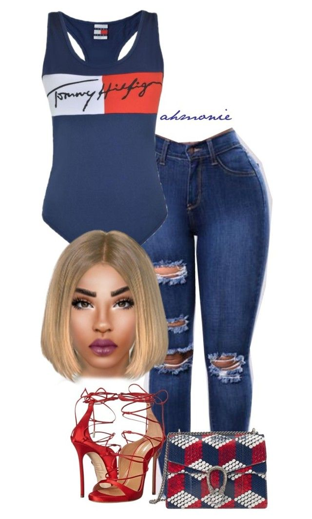 """""""Untitled #674"""" by ahmonie ❤ liked on Polyvore featuring Tommy Hilfiger, Dsquared2 and Gucci"""
