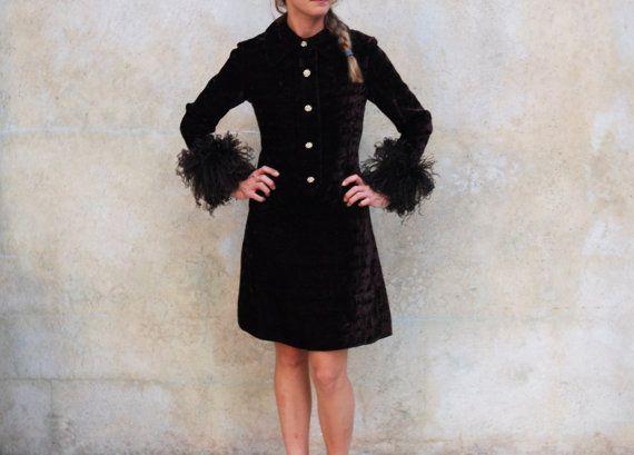 1960s brown crushed velvet cocktail dress  Mod by circa1955vintage, $175.00