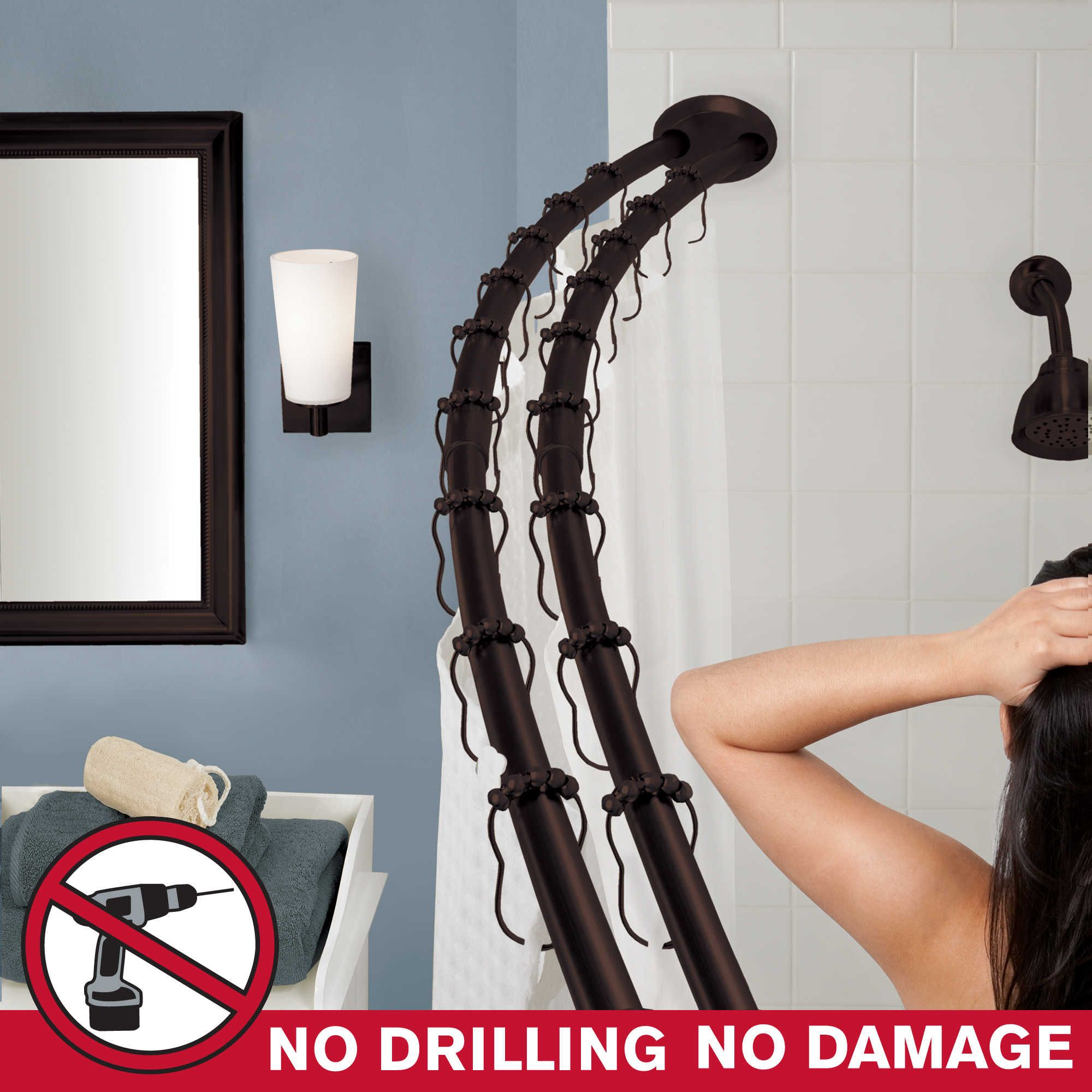 The Gripper Double Curved Shower Rod Shower Curtain Rods