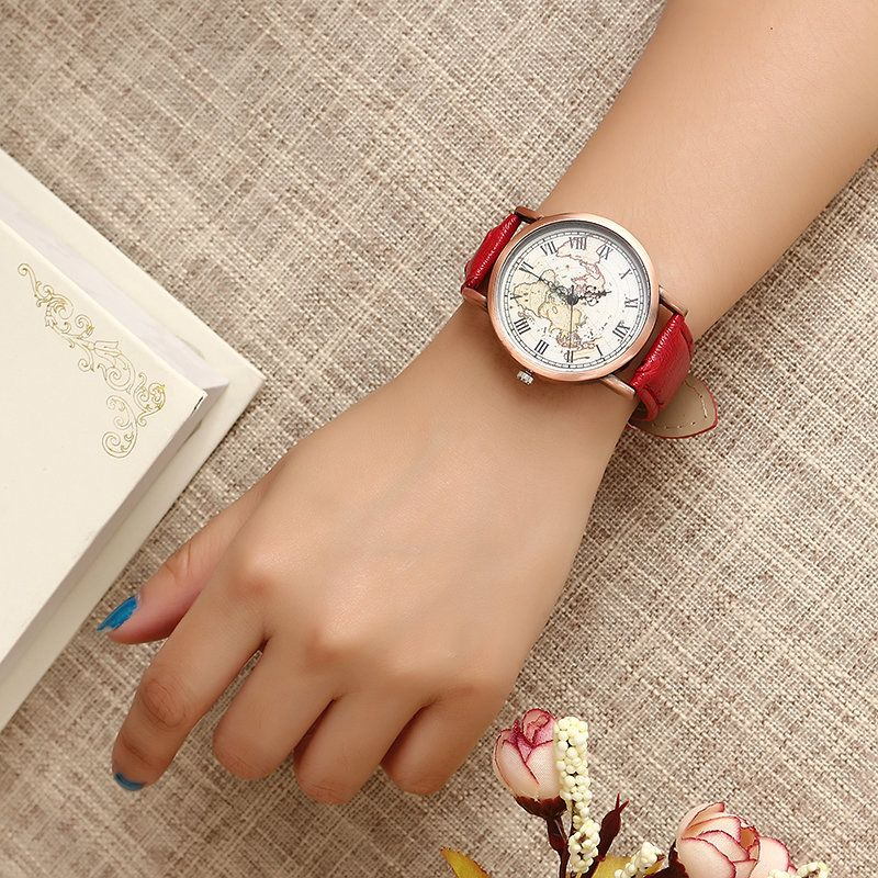 Women\'s Retro Watch Vintage Leather Map Watch | Retro watches, Map ...