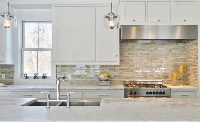 Encore Ceramics Using Just 2x8 Field Tile In Storm Le Glaze This Kitchen Designed
