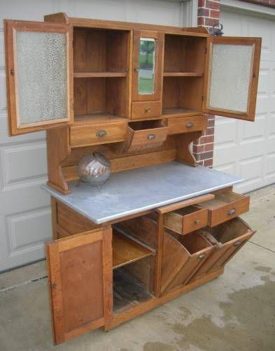 Early HTF Oak HOOSIER Style Kitchen Cabinet w Tilt Bins, Mirror Door ...