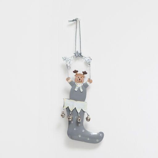 Ornamento da appendere renna con gli stivali color grigio