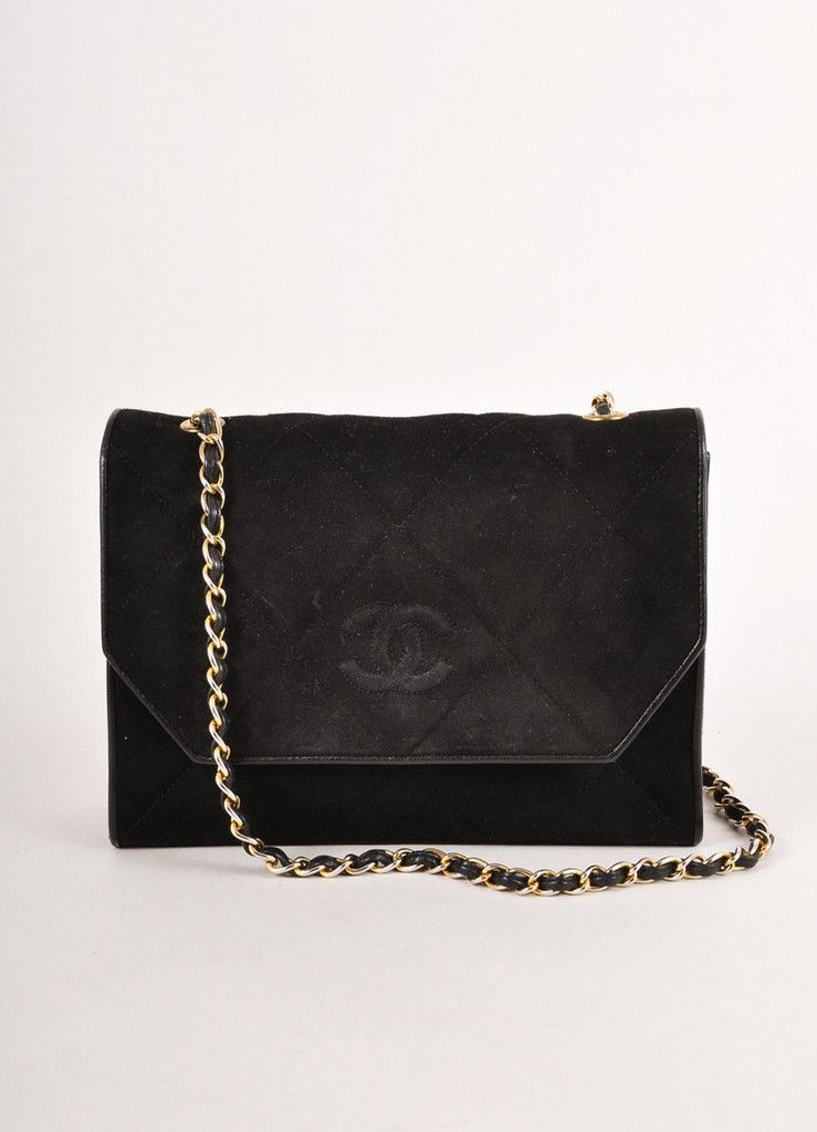 6b422f97d640 VINTAGE CHANEL Black and Silver Quilted Suede