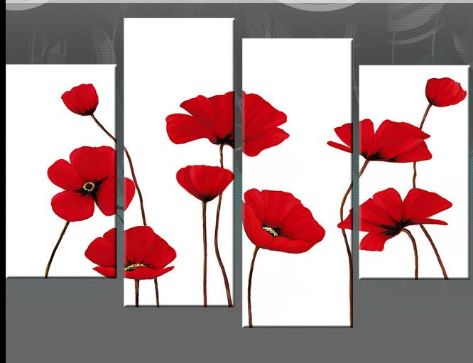 Red poppies on white stunning floral clean clear and vibrant poppy canvas wall art picture print 4 panel size size overall wall size