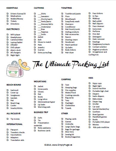 The Ultimate Packing List Printable Packing List For Travel Ultimate Packing List Packing Tips For Travel