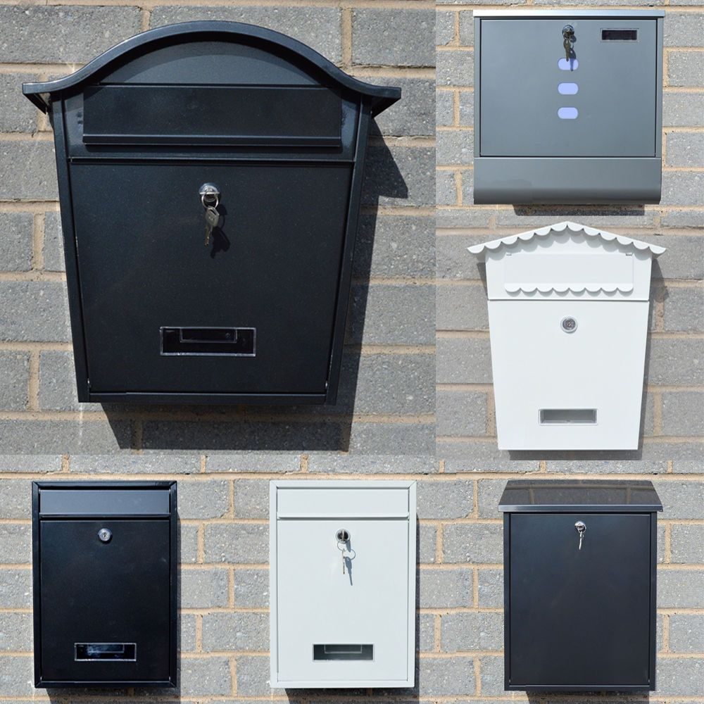 Large Lockable Wall Mounted Letter Post Box Mailbox Square Outdoor Garden  Metal