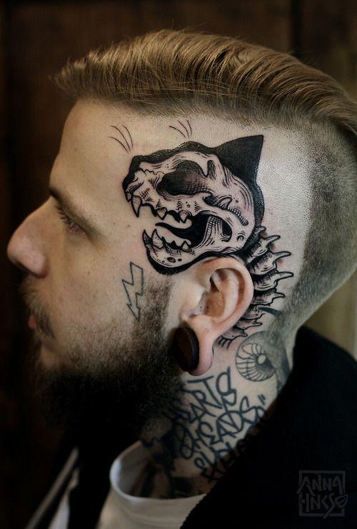 Cat. Skull. On. Skull. Tattoo. Blackwork. It's pretty amazing but would never think of it.