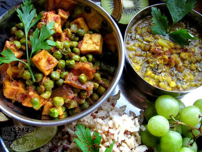Mutter Paneer Tofu - North Indian vegan recipe