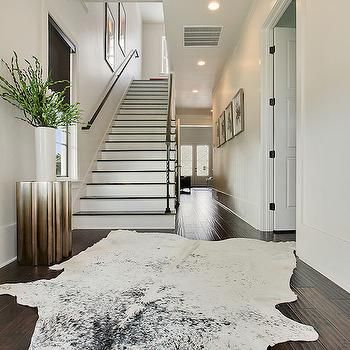 Black And White Cowhide Rug Contemporary Entrance Foyer