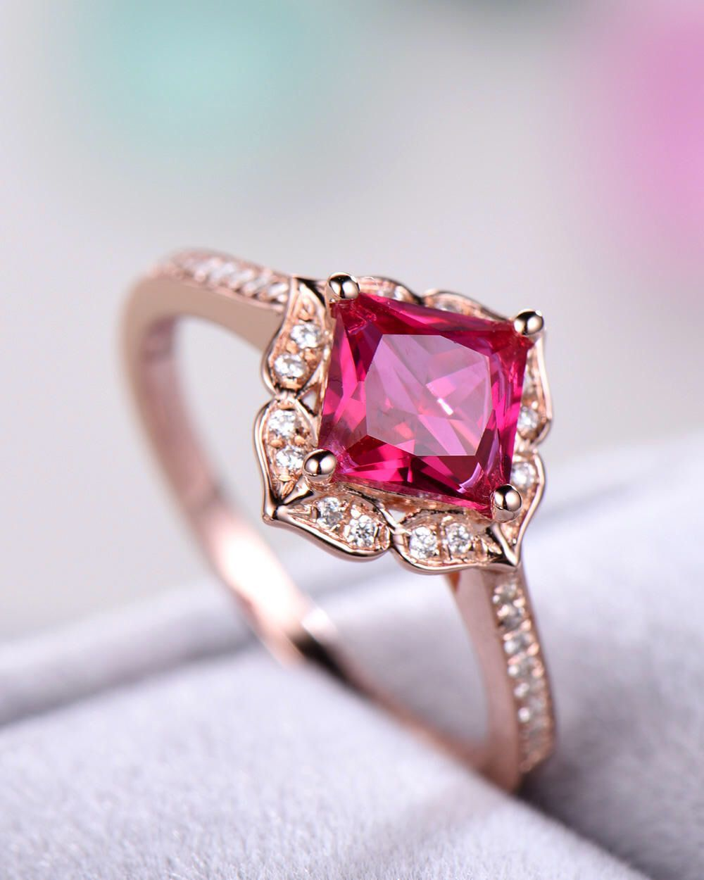 Lab ruby engagement ring red sterling silver rose gold princess