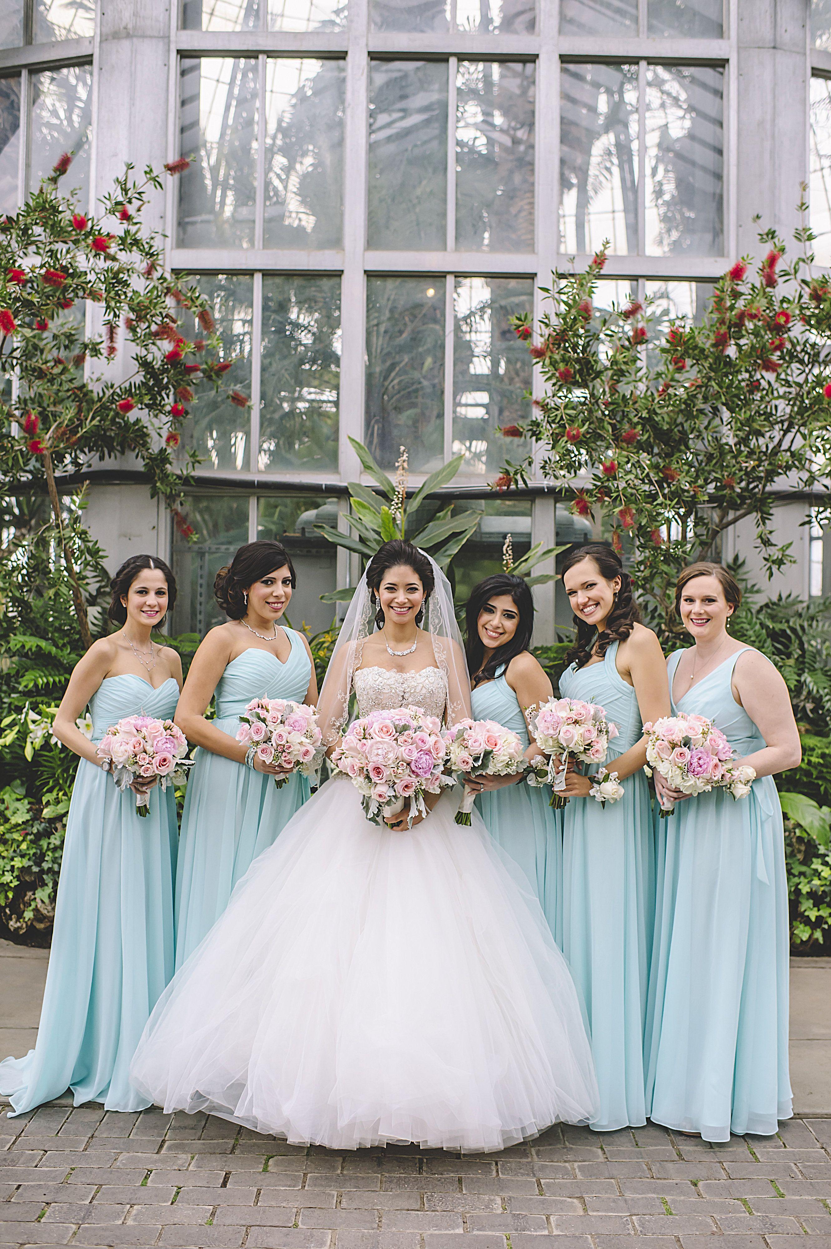 Mix n match long chiffon mint blue bridesmaid dresses   Kennedy ...